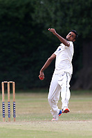 M KHan of Hornchurch in bowling action during Upminster CC (batting) vs Hornchurch CC, Shepherd Neame Essex League Cricket at Upminster Park on 8th July 2017