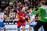 Marcel Niemeyer (HBW Balingen-Weilstetten #3) ; Johannes Bitter (TVB Stuttgart #1) beim Spiel in der Handball Bundesliga, TVB 1898 Stuttgart - HBW Balingen-Weilstetten.<br /> <br /> Foto © PIX-Sportfotos *** Foto ist honorarpflichtig! *** Auf Anfrage in hoeherer Qualitaet/Aufloesung. Belegexemplar erbeten. Veroeffentlichung ausschliesslich fuer journalistisch-publizistische Zwecke. For editorial use only.