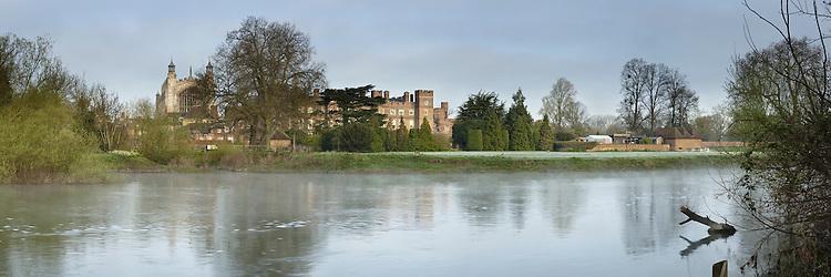 Eton College on the River Thames from Romney Lock Island, Windsor, Berkshire, Uk