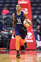 Washington, DC - June 3, 2018: Connecticut Sun guard Courtney Williams (10) brings the ball up court during game between the Washington Mystics and Connecticut Sun at the Capital One Arena in Washington, DC. (Photo by Phil Peters/Media Images International)