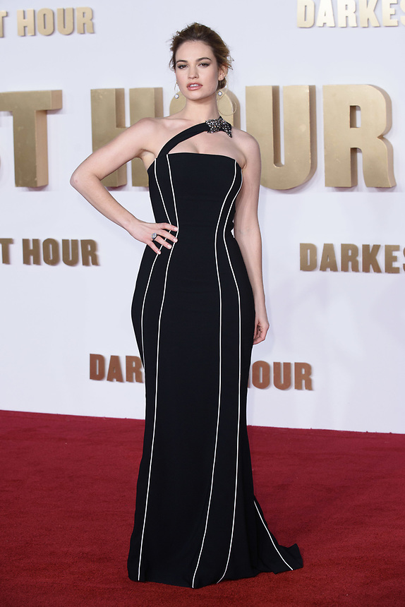 """Lilly James<br /> arriving for the """"Darkest Hour"""" premiere at the Odeon Leicester Square, London<br /> <br /> <br /> ©Ash Knotek  D3361  11/12/2017"""