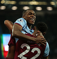West Ham United's Sebastien Haller celebrates scoring his side's first goal with Issa Diop<br /> <br /> Photographer Rob Newell/CameraSport<br /> <br /> The Premier League - West Ham United v Crystal Palace - Saturday 5th October 2019 - London Stadium - London<br /> <br /> World Copyright © 2019 CameraSport. All rights reserved. 43 Linden Ave. Countesthorpe. Leicester. England. LE8 5PG - Tel: +44 (0) 116 277 4147 - admin@camerasport.com - www.camerasport.com