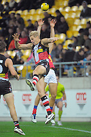 Nick Riewoldt competes for a high ball during the ANZAC Day AFL match between St Kilda Saints and Brisbane Lions at Westpac Stadium, Wellington, New Zealand on Friday, 25 April 2014. Photo: Dave Lintott / lintottphoto.co.nz