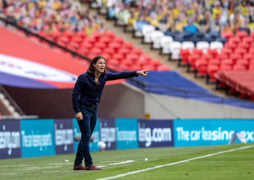 Wycombe Wanderers' manager Gareth Ainsworth gestures <br /> <br /> Photographer Andrew Kearns/CameraSport<br /> <br /> Sky Bet League One Play Off Final - Oxford United v Wycombe Wanderers - Monday July 13th 2020 - Wembley Stadium - London<br /> <br /> World Copyright © 2020 CameraSport. All rights reserved. 43 Linden Ave. Countesthorpe. Leicester. England. LE8 5PG - Tel: +44 (0) 116 277 4147 - admin@camerasport.com - www.camerasport.com