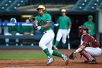 Bryce Gray (5) of the Notre Dame Fighting Irish follows through on his swing against the Florida State Seminoles in Game Four of the 2017 ACC Baseball Championship at Louisville Slugger Field on May 24, 2017 in Louisville, Kentucky. The Seminoles walked-off the Fighting Irish 5-3 in 12 innings. (Brian Westerholt/Four Seam Images)