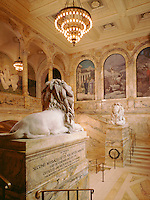 Public Library foyer with lions McKim, Meade and White Boston MA