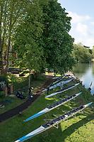 Maidenhead. Berkshire. United Kingdom. General view Competitors boats on trestles beside, Maidenhead RC Boathouse. 2017 Maidenhead Junior Regatta  River Thames. [©Peter SPURRIER/Intersport Images] Sunday. 14.05.2017