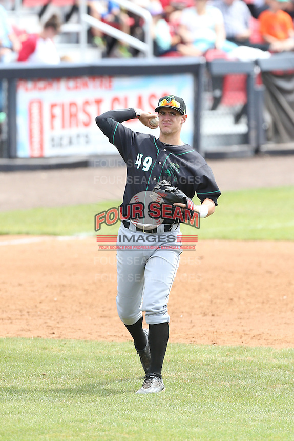 Blake Headley (49) of the Eugene Emeralds makes a throw from third base during a game against the Vancouver Canadians at Nat Bailey Stadium on July 22, 2015 in Vancouver, British Columbia. Vancouver defeated Eugene, 4-2. (Larry Goren/Four Seam Images)