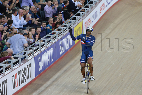 02.03.2016. Lee valley Velo Centre. London England. UCI Track Cycling World Championships Men&rsquo;s team sprint.  Team France <br /> BAUGE Gregory crosses the finish line