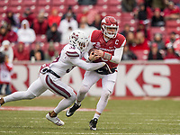 Hawgs Illustrated/BEN GOFF <br /> Johnathan Abram (38), Mississippi State safety, tackles Austin Allen, Arkansas quarterback, in the thrid quarter against Mississippi State Saturday, Nov. 18, 2017, at Reynolds Razorback Stadium in Fayetteville.