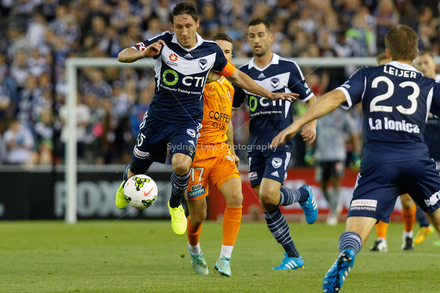 Mark MILLIGAN of the Victory controls the ball in the round seven match between Melbourne Victory and Brisbane Roar in the Australian Hyundai A-League 2014-15 season at Etihad Stadium, Melbourne, Australia.