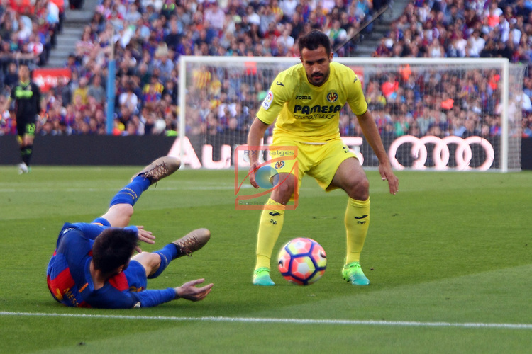 League Santander 2016/2017. Game: 36.<br /> FC Barcelona vs Villarreal CF: 4-1.<br /> Lionel Messi vs Mario.