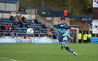 Joe Jacobson of Wycombe Wanderers hits a free kick during the Sky Bet League 2 match between Wycombe Wanderers and Barnet at Adams Park, High Wycombe, England on 22 October 2016. Photo by Andy Rowland.