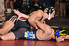Jakob Restrepo of Sachem East, top, battles Nick Colloca of West Islip at 152 pounds during the Suffolk County varsity wrestling Division I semifinals at Hofstra University on Sunday, February 15, 2015. Restrepo won the match by technical fall.<br /> <br /> James Escher