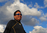 Feb. 26, 2011; Pomona, CA, USA; NHRA funny car driver Cruz Pedregon during qualifying for the Winternationals at Auto Club Raceway at Pomona. Mandatory Credit: Mark J. Rebilas-