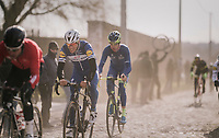 Philippe Gilbert (BEL/Quick Step floors) fighting with the cobbles<br /> <br /> 50th GP Samyn 2018<br /> Quaregnon &gt; Dour: 200km (BELGIUM)