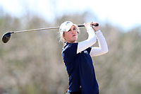 WALLACE, NC - MARCH 09: Keri Kenkel of UNC Wilmington tees off on the 13th hole of the River Course at River Landing Country Club on March 09, 2020 in Wallace, North Carolina.