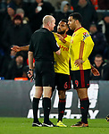 Watford's Adrian Mariappa and Troy Deeney argues with referee Lee Mason during the premier league match at Selhurst Park Stadium, London. Picture date 12th December 2017. Picture credit should read: David Klein/Sportimage