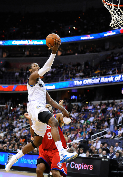 John Wall of the Wizards gets an open look at the basket. Washington defeated Philadelphia 116-115 during the home season opener at the Verizon Center in Washington, DC on Tuesday, November 2, 2010. Alan P. Santos/DC Sports Box