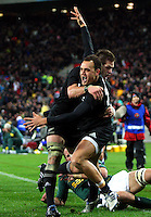 Richie McCaw congratulates Israel Dagg on his try. Investec Tri-Nations - All Blacks v South Africa at Westpac Stadium, Wellington on Saturday 17 July 2010. Photo: Dave Lintott/lintottphoto.co.nz