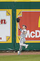Auburn Tigers baseman Mitchell Self #1 makes a running catch in the outfield against the LSU Tigers in the NCAA baseball game on March 22nd, 2013 at Alex Box Stadium in Baton Rouge, Louisiana. LSU defeated Auburn 9-4. (Andrew Woolley/Four Seam Images).