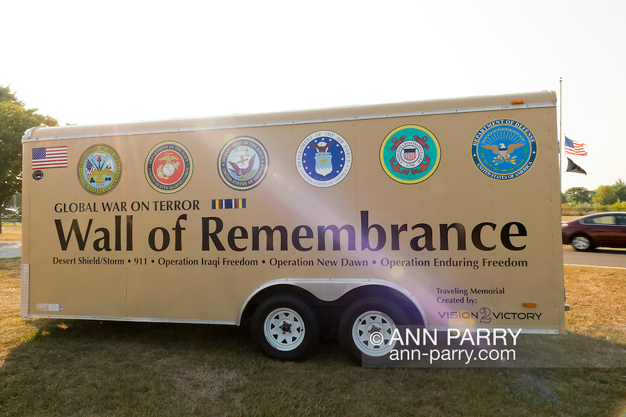 """East Meadow, New York, U.S. 11th September 2013. The Wall of Remembrance trailer is by the Global War on Terror """"Wall of Remembrance"""" a traveling memorial on display in New York for the first time, at Eisenhower Park on the 12th Anniversary of the terrorist attacks of September 11th 2001."""