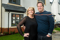 Wednesday 08 February 2017<br />Pictured: Huw Hitchcock and Kelly Barnett at their new home<br />Re: Huw and Kelly have moved into a new Waterstone House near Swansea, South Wales.