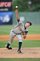 Pitcher Matt Marsh (15) of the Charleston RiverDogs delivers a pitch in a game against the Greenville Drive on Sunday, August 16, 2015, at Fluor Field at the West End in Greenville, South Carolina. Charleston won, 6-2. (Tom Priddy/Four Seam Images)