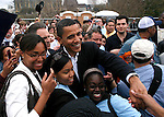 Sen. Barrack Obama visits with supporters after speaking during a rally held in Austin, Texas on February 23, 2007.