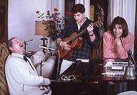 Domenico Modugno 25 anni dalla morte,  Domenico Modugno con La Moglie Franca Gandolfi filgio Marcello Fotografato nella sua casa di Roma. 1987