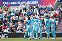 The England players congratulate Joe Root (England) on the wicket of Shimron Hetmyer (West Indies) during England vs West Indies, ICC World Cup Cricket at the Hampshire Bowl on 14th June 2019