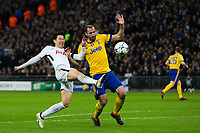 Tottenham Hotspur's Son Heung-Min battles for possession with Giorgio Chiellini of Juventus <br /> <br /> Photographer Craig Mercer/CameraSport<br /> <br /> UEFA Champions League Round of 16 Second Leg - Tottenham Hotspur v Juventus - Wednesday 7th March 2018 - Wembley Stadium - London <br />  <br /> World Copyright &copy; 2017 CameraSport. All rights reserved. 43 Linden Ave. Countesthorpe. Leicester. England. LE8 5PG - Tel: +44 (0) 116 277 4147 - admin@camerasport.com - www.camerasport.com