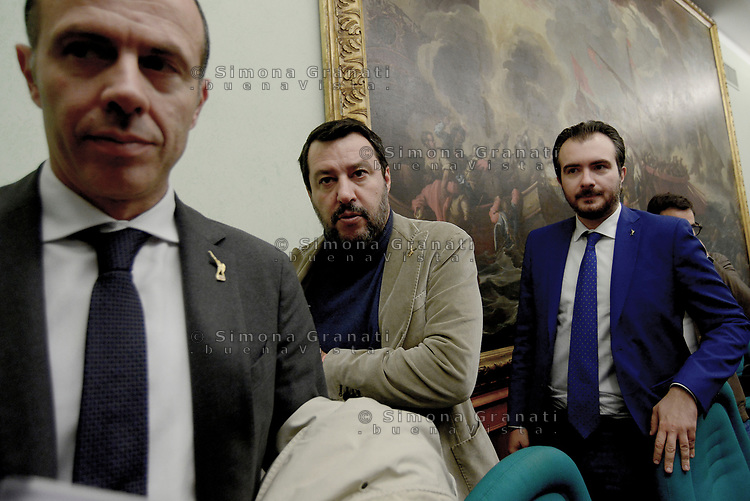 Roma,13 Novembre 2019<br /> Massimiliano Romeo, Matteo Salvini;Riccardo Molinari.<br /> Matteo Salvini in Conferenza stampa sulla manovra economica alla Sala Salvadori