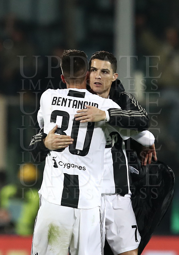 Calcio, Serie A: Fiorentina - Juventus, stadio Artemio Franchi Firenze 1 dicembre 2018.<br /> Juventus' Cristiano Ronaldo (r) celebrates with his teammate Rodrigo Bentancur (l) after winning 3-0 the Italian Serie A football match between Fiorentina and Juventus at Florence's Artemio Franchi stadium, December 1, 2018.<br /> UPDATE IMAGES PRESS/Isabella Bonotto