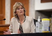 United States Senator Lisa Murkowski (Republican of Alaska), of the Senate Health, Education, Labor and Pensions (HELP) Committee, asks questions during a hearing on Capitol Hill in Washington DC on Tuesday, June 30, 2020.  Dr. Anthony Fauci, director of the National Institute for Allergy and Infectious Diseases, and other government health officials updated the Senate on how to safely get back to school and the workplace during the COVID-19 pandemic.<br /> Credit: Kevin Dietsch / Pool via CNP /MediaPunch