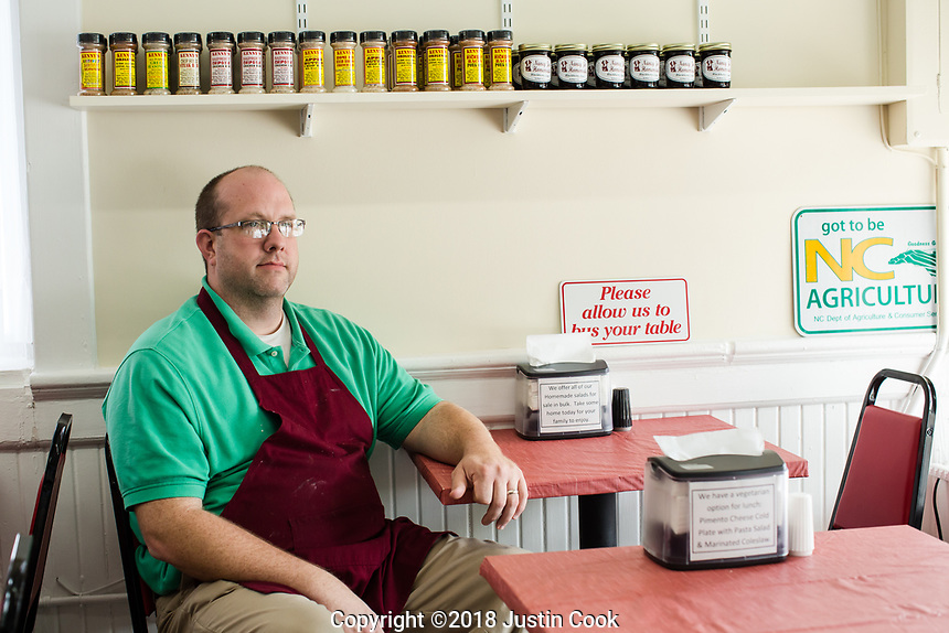David Townsend, owner of Nancy Jo's Homemade, an ice cream shop and bakery, in Clayton, NC Friday, April 27, 2018. (Justin Cook for STAT News)