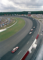 A bird's eye view of the action and grandstands during the Southern 500 at Darlington Raceway in Darlington, SC in September 1988. (Photo by Brian Cleary/www.bcpix.com)