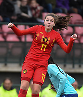 20190206 - TUBIZE , BELGIUM : Belgian Sien Vandersanden  pictured during the friendly female soccer match between Women under 17 teams of  Belgium and The Netherlands , in Tubize , Belgium . Wednesday 6th February 2019 . PHOTO SPORTPIX.BE DIRK VUYLSTEKE