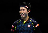 Kei Nishikori (JPN) smiles during Day Three of the Barclays ATP World Tour Finals 2015 played at The O2, London on November 17th 2015