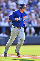 Chicago Cubs first baseman Anthony Rizzo (44) rounds the bases after hitting a home run during a game against the Atlanta Braves at Turner Field on June 11, 2016 in Atlanta, Georgia. The Cubs defeated the Braves 8-2. (Tony Farlow/Four Seam Images)
