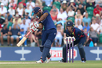 Varun Chopra of Essex hits out as Sam Billings looks on from behind the stumps during Kent Spitfires vs Essex Eagles, NatWest T20 Blast Cricket at The County Ground on 9th July 2017