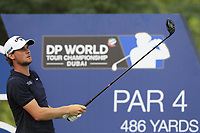 Thomas Pieters (BEL) on the 16th tee during the 2nd round of the DP World Tour Championship, Jumeirah Golf Estates, Dubai, United Arab Emirates. 16/11/2018<br /> Picture: Golffile | Fran Caffrey<br /> <br /> <br /> All photo usage must carry mandatory copyright credit (© Golffile | Fran Caffrey)