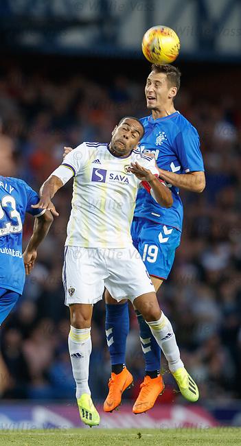 09.08.18 Rangers v Maribor: Nikola Katic and Marcos Tavares