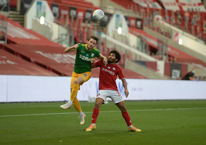 Preston North End's Alan Browne beats Bristol City's Jay Dasilva to the header <br /> <br /> Photographer Ian Cook/CameraSport<br /> <br /> The EFL Sky Bet Championship - Bristol City v Preston North End - Wednesday July 22nd 2020 - Ashton Gate Stadium - Bristol <br /> <br /> World Copyright © 2020 CameraSport. All rights reserved. 43 Linden Ave. Countesthorpe. Leicester. England. LE8 5PG - Tel: +44 (0) 116 277 4147 - admin@camerasport.com - www.camerasport.com