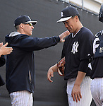(L-R) Joe Girardi, Masahiro Tanaka (Yankees),<br /> FEBRUARY 18, 2014 - MLB :<br /> New York Yankees spring training camp in Tampa, Florida, United States. (Photo by AFLO)