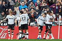 25th January 2020; Mestalla, Valencia, Spain; La Liga Football,Valencia versus Barcelona; Maxi Gomez of Valencia CF celebrates with his team mates after scoring in minute 47' the first goal for his team (1-0)