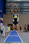 BROOKINGS, SD - FEBRUARY 25:  Jaden Purnell from Oral Roberts leaps during the finals of the men's triple jump at the 2017 Summit League Indoor Track and Field Championship Saturday afternoon in Brookings, SD. (Photo by Dave Eggen/Inertia)