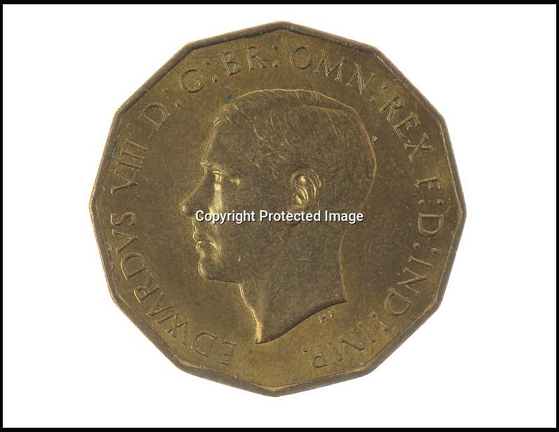 BNPS.co.uk (01202 558833)<br /> Pic: MellorKirk/BNPS<br /> <br /> *** Please use full byline***<br /> <br /> Three pence turns into £30k.<br /> <br /> An incredibly rare coin bearing the head of King Edward VIII that was struck before he famously abdicated has emerged for sale for 30,000 pounds.<br /> <br /> The dodecahedron-shaped coin was an experimental piece produced by the Royal Mint after the death of King George V.<br /> <br /> Edward automatically succeeded his father but abdicated before his coronation so he could marry American divorcee Wallis Simpson.<br /> <br /> While commemorative Royal China was mass-produced to honour the new King, hardly any coins with his head on were created.