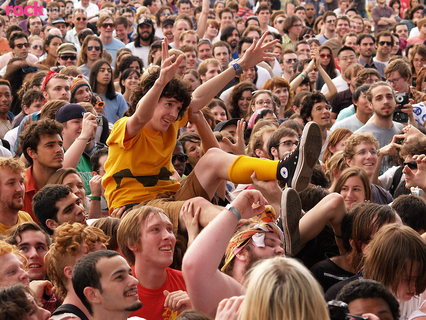 Happy crowd surfer during Pool Parties Concert, McCarren Park Brooklyn NY