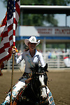 Miss Rodeo Colorado Megan Grieve makes a patriotic entrance to the 2008 Greeley Independence Stampede Rodeo on July 29, 2008 in Greeley, Colorado.